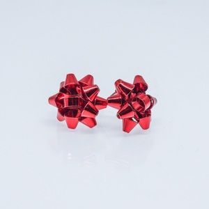 Red Christmas Present Bow Earrings